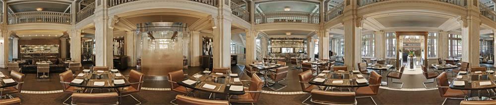 Toàn cảnh nội thất nhà hàng từ phòng ăn lớn trung tâm