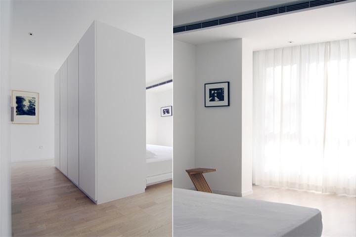 Tủ quần áo là khoảng đệm ngăn cách giữa phòng ngủ và phòng tắm