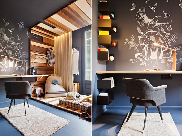 Thiết kế nội thất phòng ngủ trẻ em theo tông màu tối