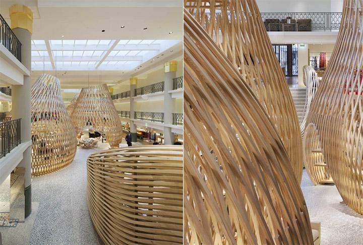 thiet-ke-cua-hang-thoi-trang-hermes-01 Những túp lều gỗ uốn lượn trong cửa hàng thời trang Hermès