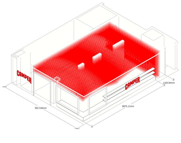 thiet-ke-thi-cong-noi-that-shop-giay-01 Thiết kế thi công nội thất shop giày Camper từ 30000 sợi dây giày
