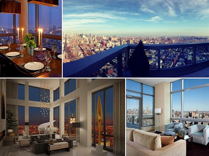 Phòng khách và phòng ăn hường ra cảnh quan thành phố