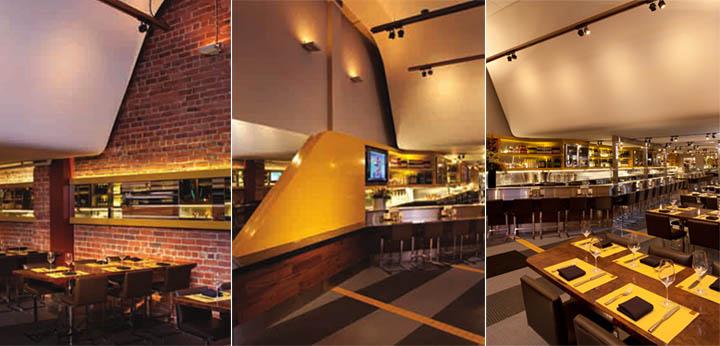 Tướng ốp gạch cổ và ánh sáng dịu nhẹ trong nhà hàng
