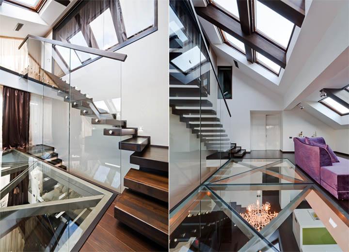 Thiết kế đơn giản của cầu thang với lan can kính