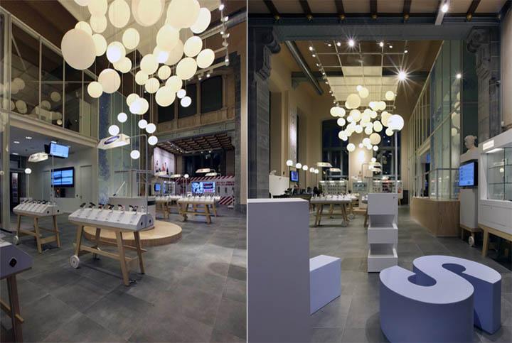 Ánh sáng và sự tinh tế trong thiết kế nội thất cửa hàng điện thoại di động BASE