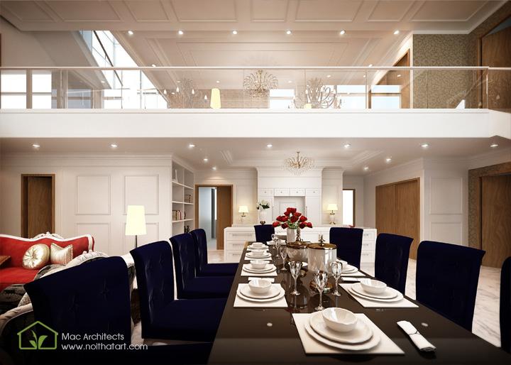 Thiết kế nội thất căn hộ chung cư penthouse theo phong cách bán cổ điển