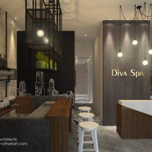 Khu tiếp tân và bar trong thiết kế nội thất spa Diva Spa