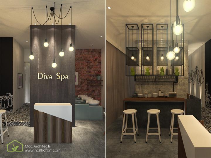 Diva Spa - Thiết kế nội thất spa tông trầm từ vật liệu thô 1