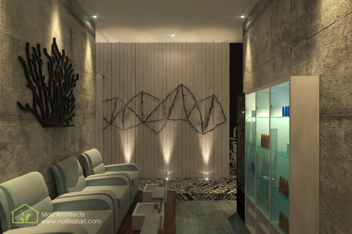 Diva Spa - Thiết kế nội thất spa tông trầm từ vật liệu thô 5