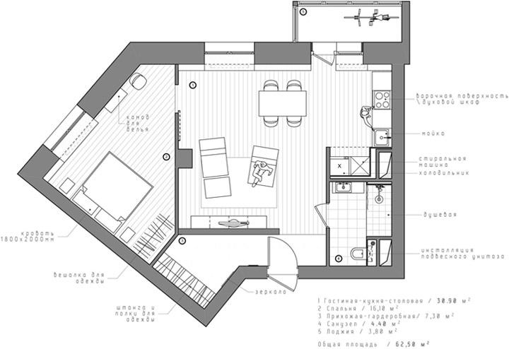 Mặt bằng của căn hộ chung cư