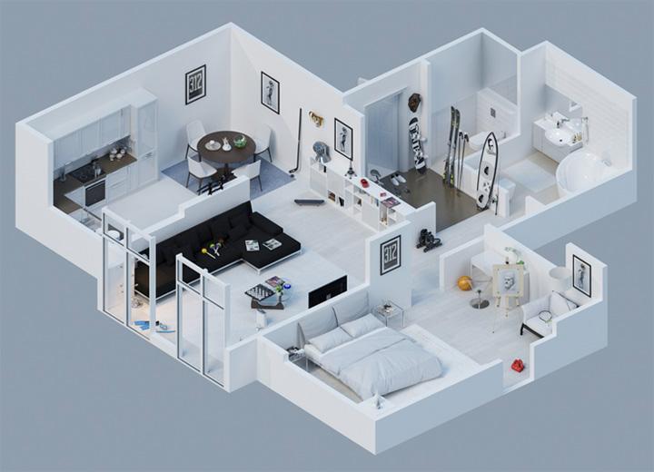 Tham khảo các thiết kế 3d căn hộ đẹp để có cái nhìn tổng thể 2