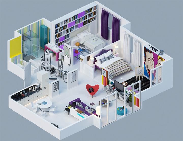 Tham khảo các thiết kế 3d căn hộ đẹp để có cái nhìn tổng thể 3
