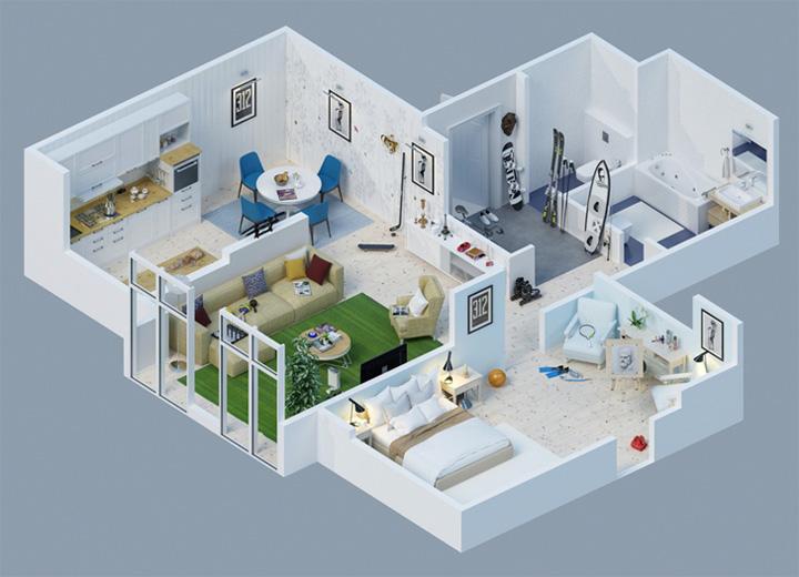 Tham khảo các thiết kế 3d căn hộ đẹp để có cái nhìn tổng thể 6