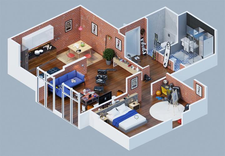 Tham khảo các thiết kế 3d căn hộ đẹp để có cái nhìn tổng thể 10