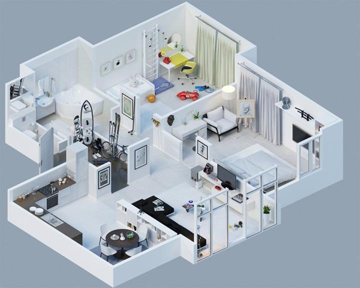 Tham khảo các thiết kế 3d căn hộ đẹp để có cái nhìn tổng thể 11