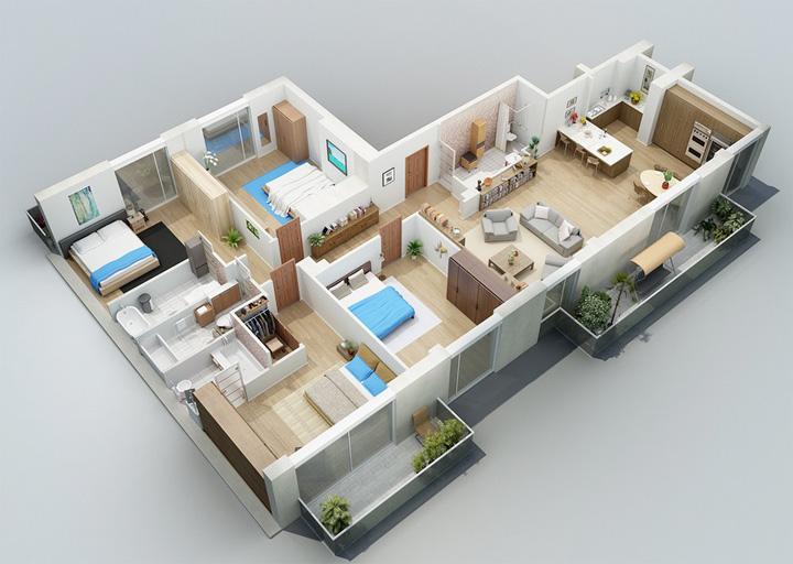 Tham khảo các thiết kế 3d căn hộ đẹp để có cái nhìn tổng thể 15
