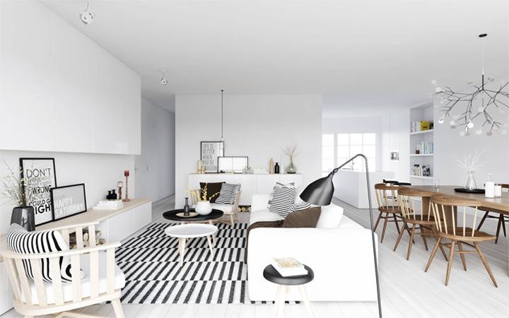 Mẫu thiết kế căn hộ đẹp theo phong cách Scandinavian tối giản 2