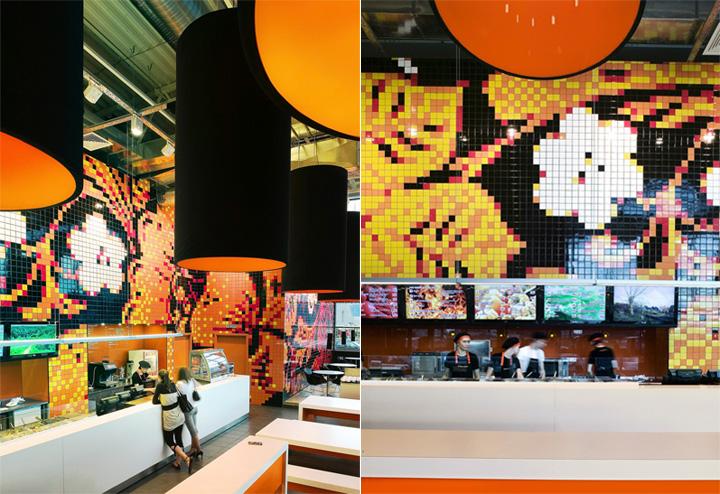 Sắc cam trong thiết kế nội thất nhà hàng và phòng trà Teaspoon 3