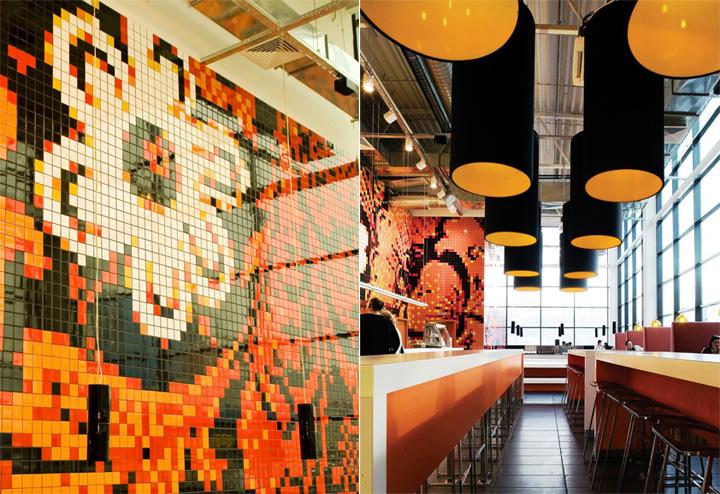 Sắc cam trong thiết kế nội thất nhà hàng và phòng trà Teaspoon 5
