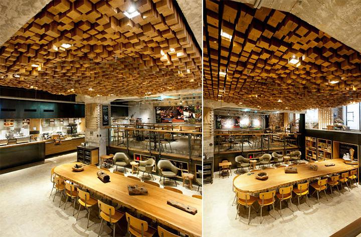 Phong cách Rustic trong thiết kế nội thất cửa hàng cafe Starbucks 8