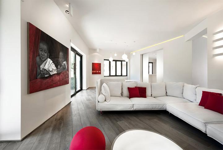 Sử dụng tông màu trắng đỏ bí ẩn trong thiết kế nội thất căn hộ 1