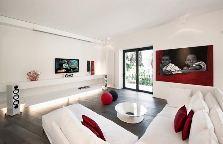 Sử dụng tông màu trắng đỏ bí ẩn trong thiết kế nội thất căn hộ 2