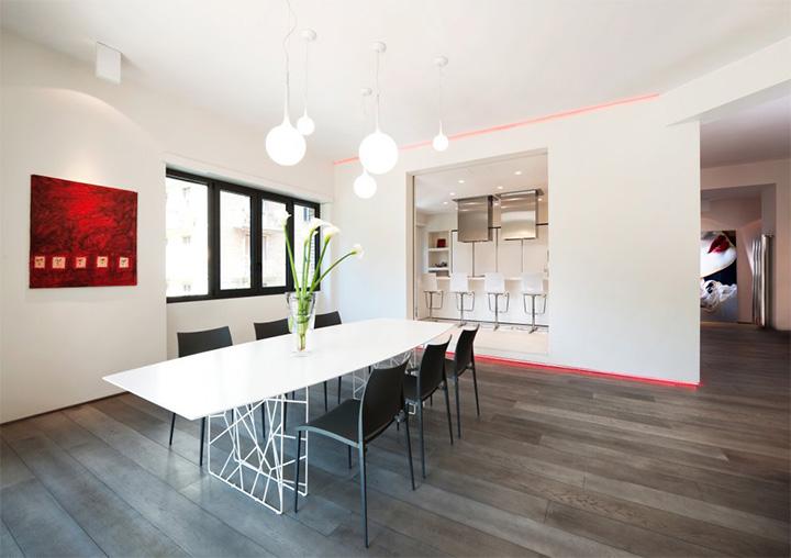 Sử dụng tông màu trắng đỏ bí ẩn trong thiết kế nội thất căn hộ 4