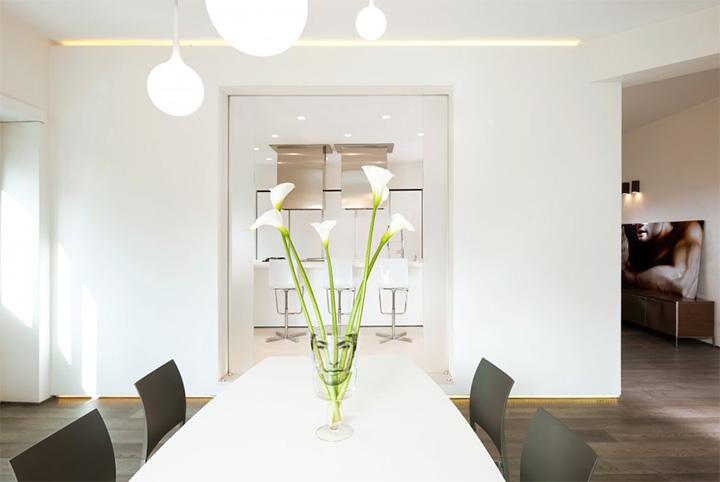 Sử dụng tông màu trắng đỏ bí ẩn trong thiết kế nội thất căn hộ 5
