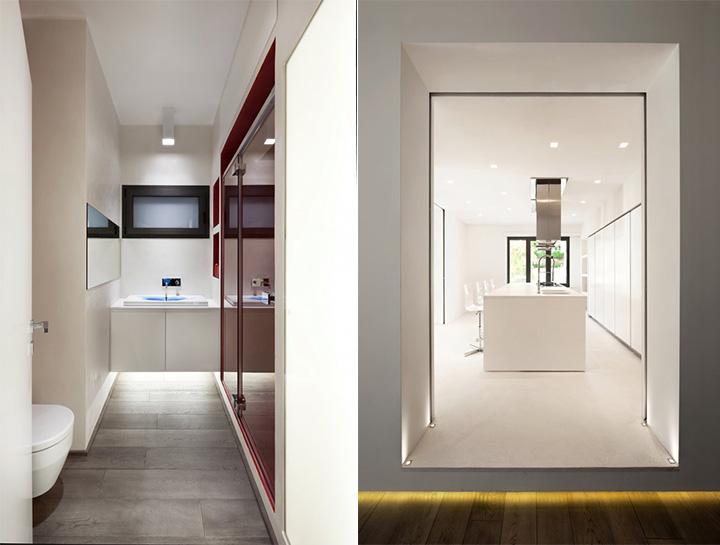 Sử dụng tông màu trắng đỏ bí ẩn trong thiết kế nội thất căn hộ 8