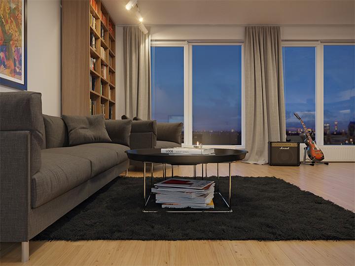 Trang trí nhà theo tông màu trắng kết hợp chất liệu gỗ chủ đạo 1