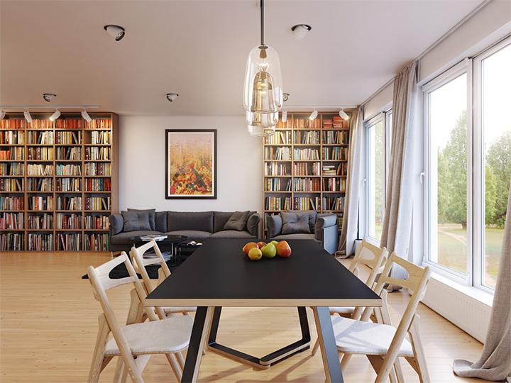 Trang trí nhà theo tông màu trắng kết hợp chất liệu gỗ chủ đạo 4