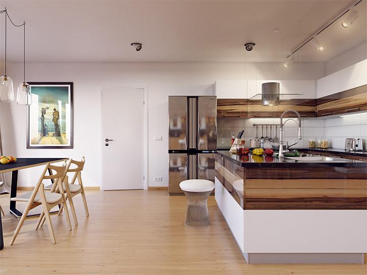 Trang trí nhà theo tông màu trắng kết hợp chất liệu gỗ chủ đạo 6