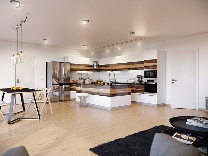 Trang trí nhà theo tông màu trắng kết hợp chất liệu gỗ chủ đạo 10