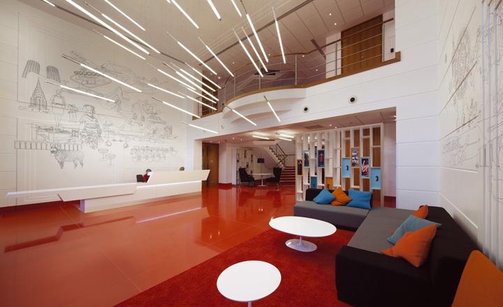 Sảnh lớn của tòa nhà văn phòng làm việc Virgin Atlantic