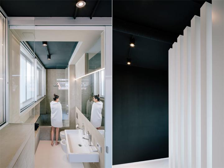 Phòng tắm nhỏ và hiện đại với những vật dụng màu đen trắng