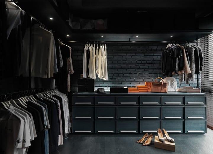 Phòng thay quần áo thoải mái, phong cách và rất sạch sẽ