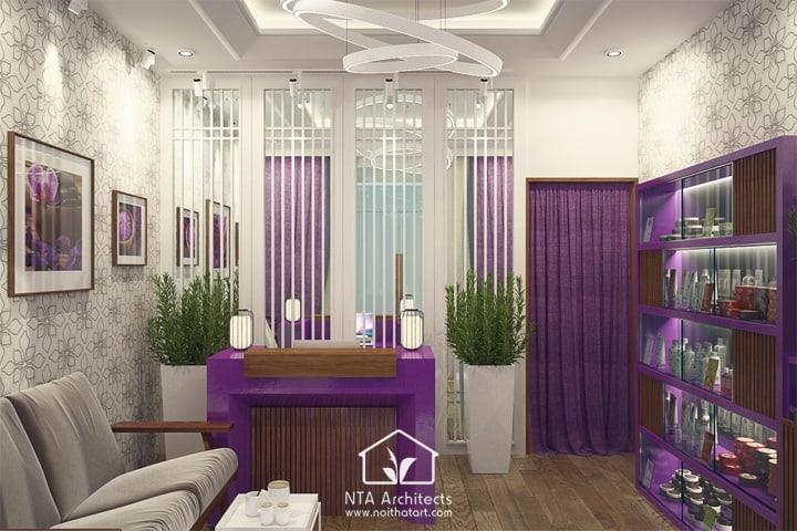 Cuốn hút với thiết kế nội thất spa tông màu tím lavender 1