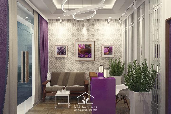 Cuốn hút với thiết kế nội thất spa tông màu tím lavender 2
