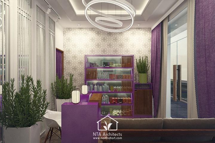 Cuốn hút với thiết kế nội thất spa tông màu tím lavender 3