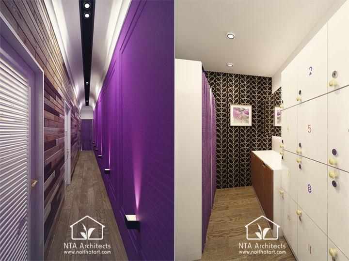 Cuốn hút với thiết kế nội thất spa tông màu tím lavender 4