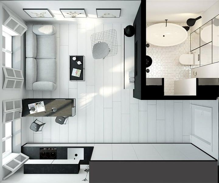4 mẫu thiết kế nội thất căn hộ nhỏ xinh theo xu hướng mới 22