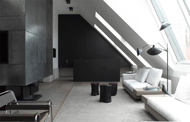 Căn hộ tông màu trắng đen và xám với thiết kế đơn giản sang trọng 3