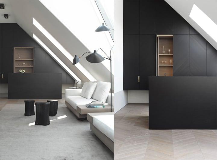 Căn hộ tông màu trắng đen và xám với thiết kế đơn giản sang trọng 2