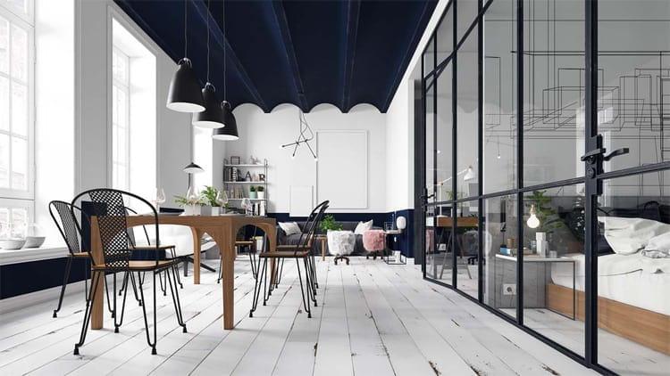 Căn hộ Scandinavian được thiết kế rất tinh tế với sàn gỗ sơn màu trắng