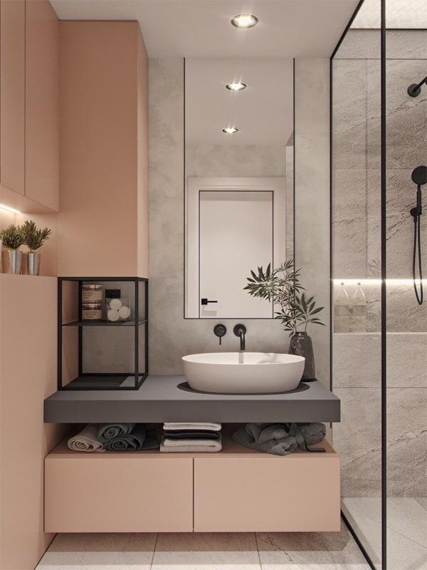 Không gian phòng tắm nhỏ cần tận dụng tối đa diện tích