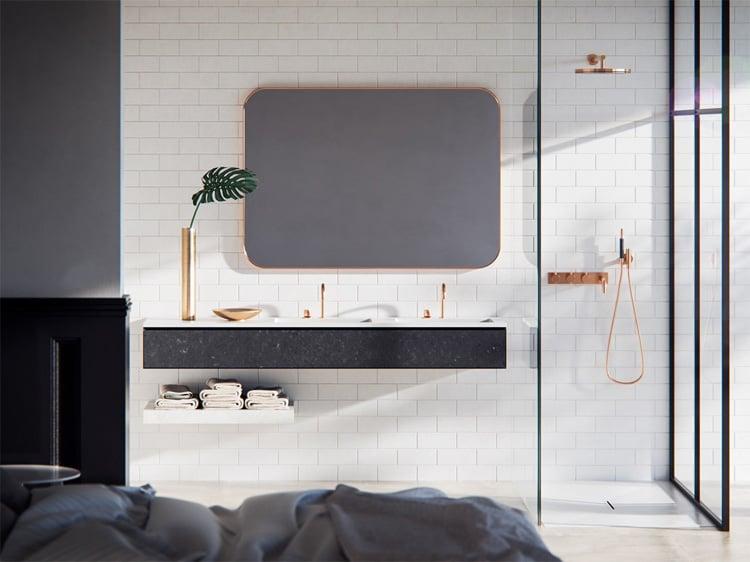 Combo các phụ kiện vàng kim sẽ giúp mạng lại sự độc đáo cho phòng tắm