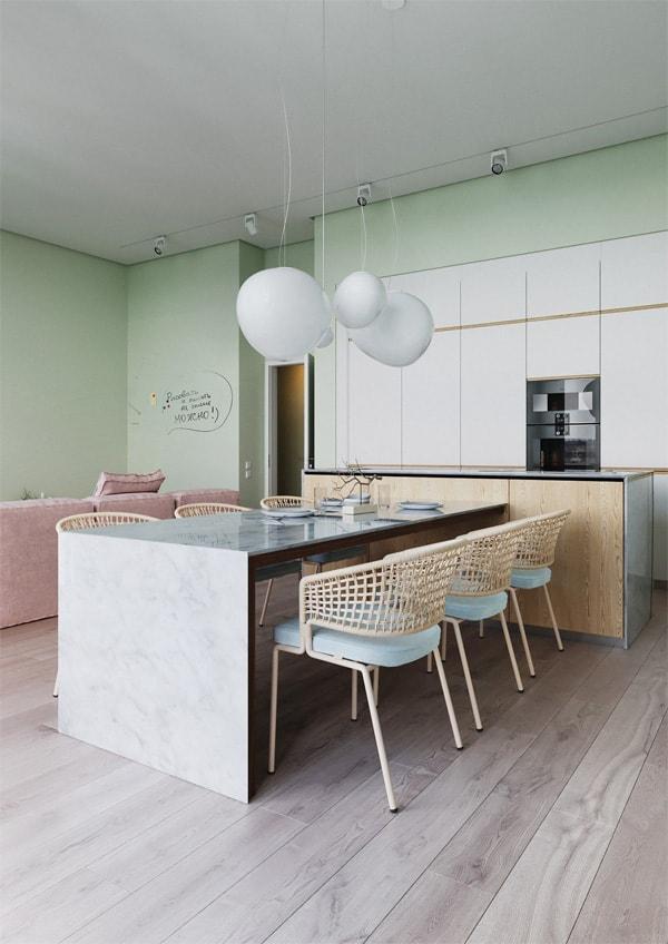 18 ý tưởng phối màu cho nhà bếp theo tông màu Pastel 14