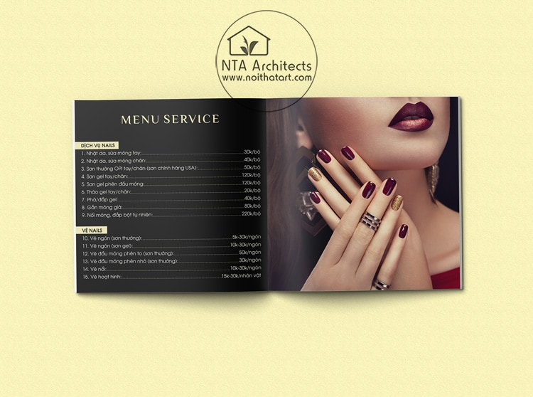 Mẫu menu nail dạng quyển do Nội Thất Art thiết kế