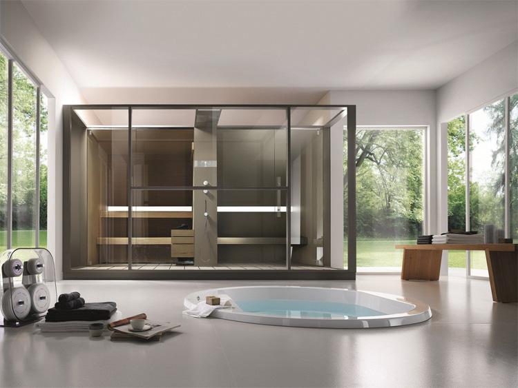 Một không gian spa tại nhà với đầy đủ phòng xông hơi và bồn tắm