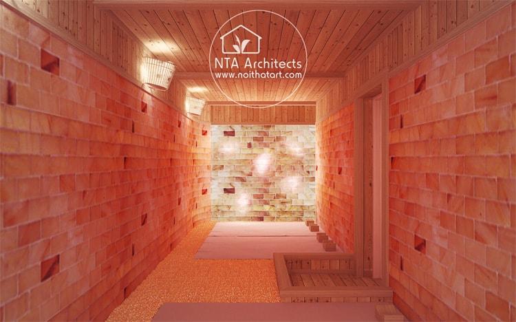 Mẫu thiết kế phòng xông hơi hồng ngoại đá muối dành cho nhiều người